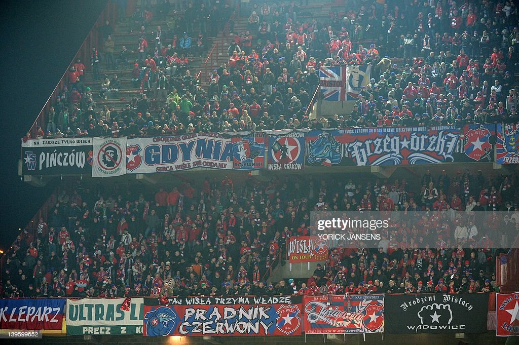 Wisla Krakow's supporters stand during a : News Photo
