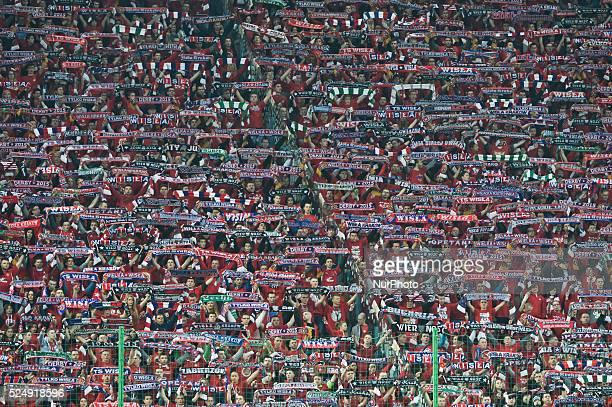 Wisla's supporters during the derby match between Wisla Krakow and Cracovia Krakow a Polish Ekstraklasa league match at Reymont's Stadium in Krakow...