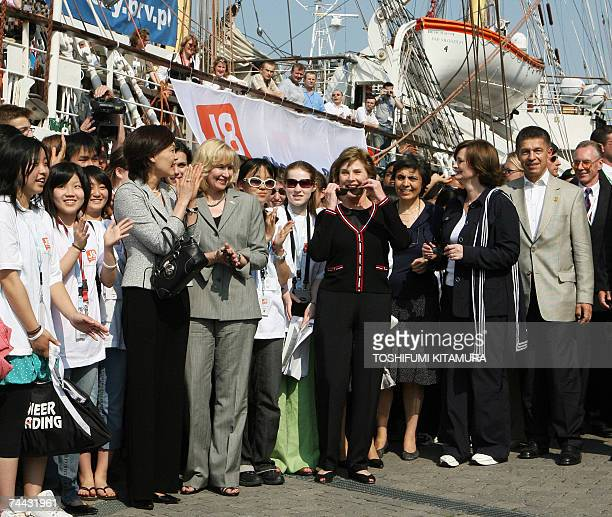 Group of Eight summit leader's partners Akie Abe of Japan Laureen Harper of Canada US First Lady Laura Bush Flavia Franzoni Prodi of Italy Cherie...