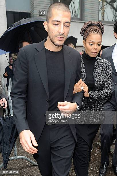 Wissam al Mana and Janet Jackson arrive at the Giorgio Armani fashion show as part of Milan Fashion Week Womenswear Fall/Winter 2013/14 on February...