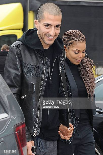 Wissam al Mana and Janet Jackson arrive at the Roberto Cavalli fashion show as part of Milan Fashion Week Womenswear Fall/Winter 2013/14 on February...