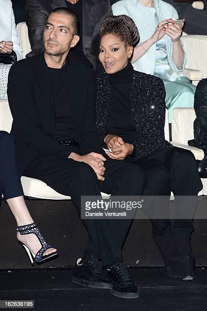 Wissam al Mana and Janet Jackson attend the Giorgio Armani fashion show during Milan Fashion Week Womenswear Fall/Winter 2013/14 on February 25 2013...