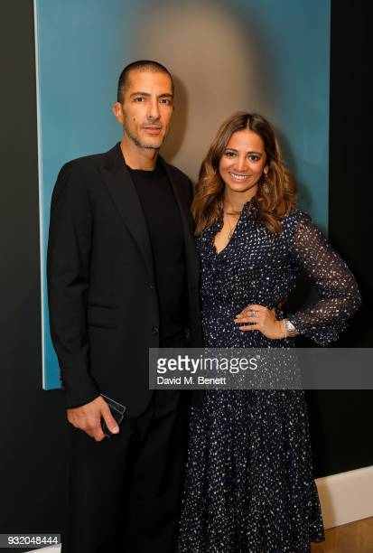 Wissam Al Mana and Katy Wickremesinghe attend the private view and wine tasting event of Miaz Brothers Anonymous at Lazinc on March 14 2018 in London...