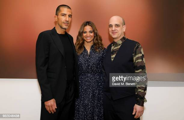 Wissam Al Mana Katy Wickremesinghe and Steve Lazarides attend the private view and wine tasting event of Miaz Brothers Anonymous at Lazinc on March...