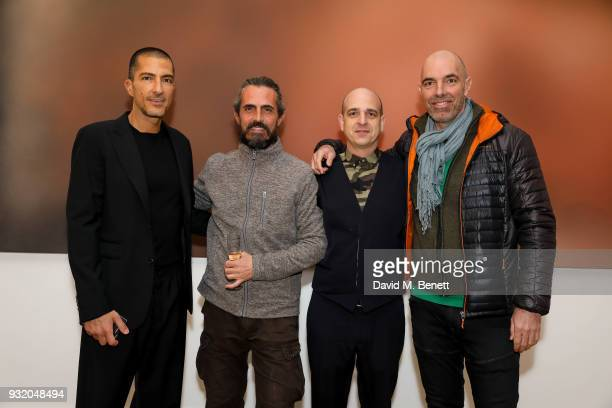 Wissam Al Mana Miaz Brothers and Steve Lazarides attend the private view and wine tasting event of Miaz Brothers Anonymous at Lazinc on March 14 2018...