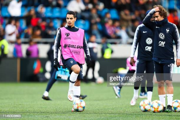 Wissam Ben Yedder and Antoine Griezmann of France before the Qualifying European Championship 2020 match between Andorra and France at Estadi...