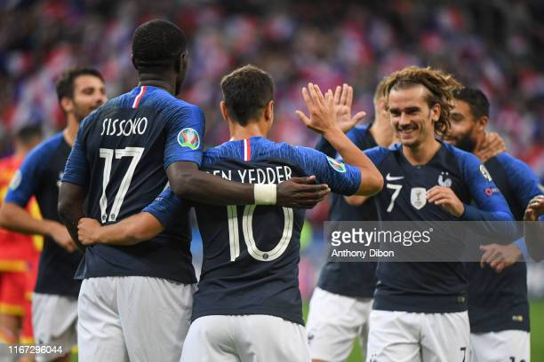 Wissam Ben Yedder and Antoine Griezmann of France celebrate a goal during the UEFA Qualifier European Championship match between France and Andorra...