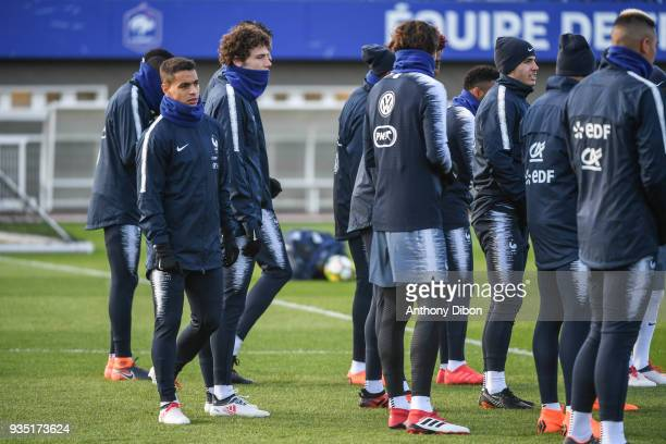 Wissam Ben Yedder and Benjamin Pavard of France during training session at Centre National du Football on March 20 2018 in Clairefontaine en Yvelines...