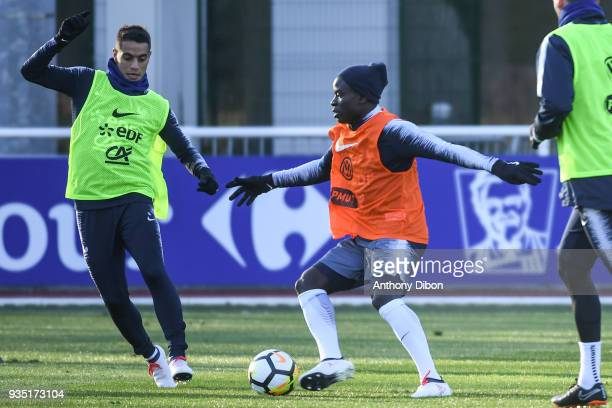 Wissam Ben Yedder and Ngolo Kante of France during training session at Centre National du Football on March 20 2018 in Clairefontaine en Yvelines...