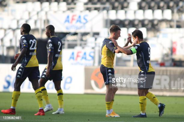 Wissam Ben Yedder celebrates his goal with team mates his goal 1:0 during a friendly match between AZ Alkmaar and AS Monaco at AFAS Stadium, in...