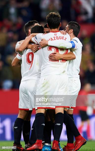 Wissam Ben Yedder of Sevilla celebrates after scoring goal during the La Liga match between Sevilla and Deportivo La Coruna at Estadio Ramon Sanchez...