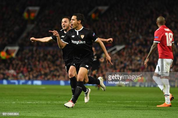 Wissam Ben Yedder of Sevilla celebrates as he scores their first goal during the UEFA Champions League Round of 16 Second Leg match between...