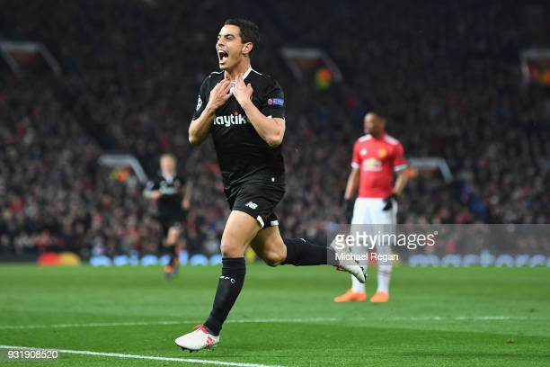 Wissam Ben Yedder of Sevilla celebrates as he scores their second goal during the UEFA Champions League Round of 16 Second Leg match between...