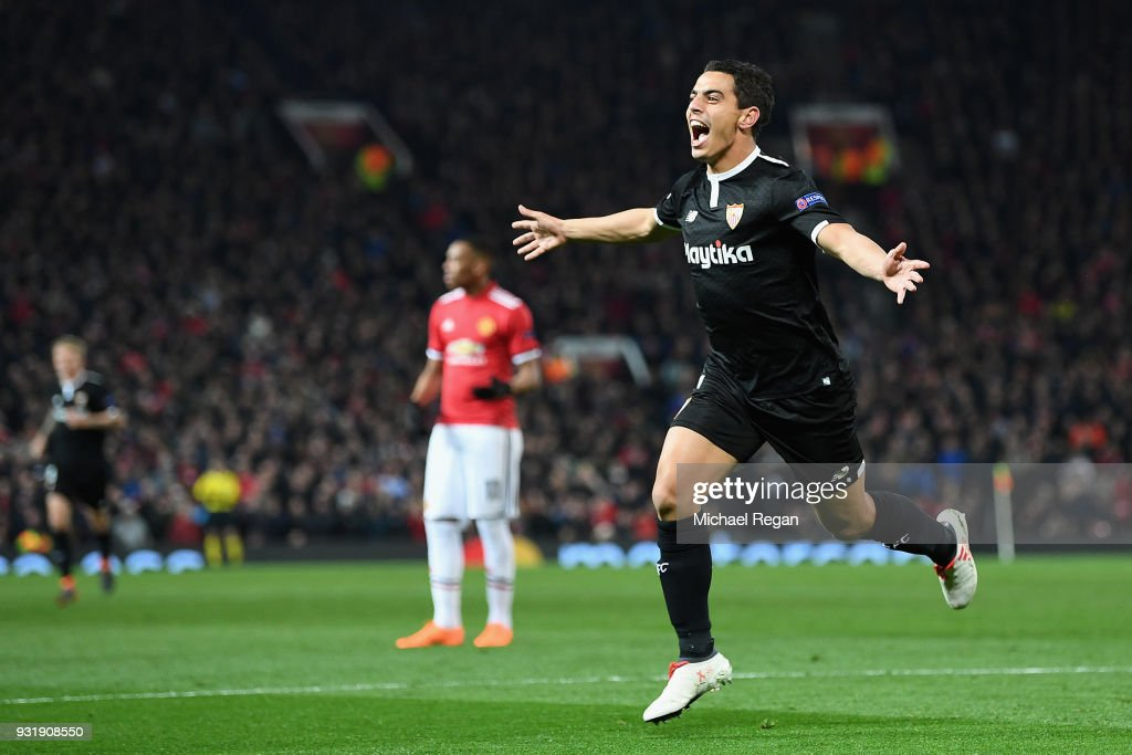 Wissam Ben Yedder of Sevilla celebrates as he scores their second goal during the UEFA Champions League Round of 16 Second Leg match between Manchester United and Sevilla FC at Old Trafford on March 13, 2018 in Manchester, United Kingdom.