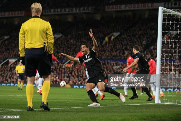 Wissam Ben Yedder of Sevilla celebrates scoring his 1st goal during the UEFA Champions League Round of 16 Second Leg match between Manchester United...