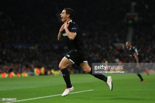 Wissam Ben Yedder of Sevilla celebrates scoring his 2nd goal during the UEFA Champions League Round of 16 Second Leg match between Manchester United...