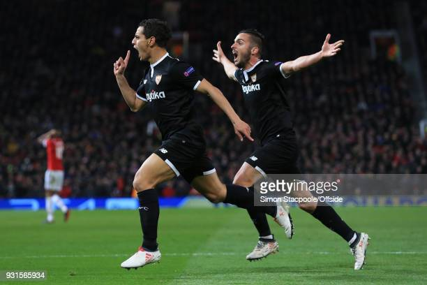 Wissam Ben Yedder of Sevilla celebrates scoring their 1st goal with Pablo Sarabia during the UEFA Champions League Round of 16 Second Leg match...