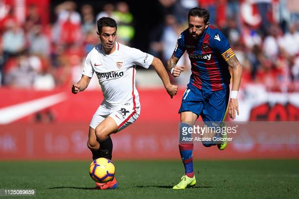 Wissam Ben Yedder of Sevilla FC being followed by Jose Luis Morales of Levante UD during the La Liga match between Sevilla FC and Levante UD at...