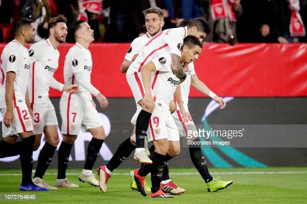 Wissam Ben Yedder of Sevilla FC celebrates 10 with Ever Banega of Sevilla FC during the UEFA Europa League match between Sevilla v Krasnodar at the...