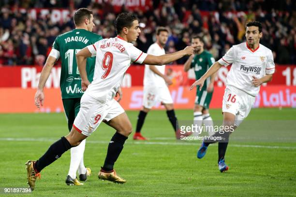 Wissam Ben Yedder of Sevilla FC celebrates 11 during the La Liga Santander match between Sevilla v Real Betis Sevilla at the Estadio Ramon Sanchez...