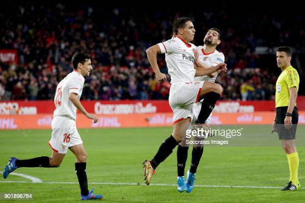 Wissam Ben Yedder of Sevilla FC celebrates 11 with Jesus Navas of Sevilla FC Nolito of Sevilla FC during the La Liga Santander match between Sevilla...
