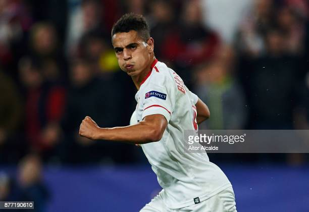 Wissam Ben Yedder of Sevilla FC celebrates after scoring a goal during the UEFA Champions League group E match between Sevilla FC and Liverpool FC at...