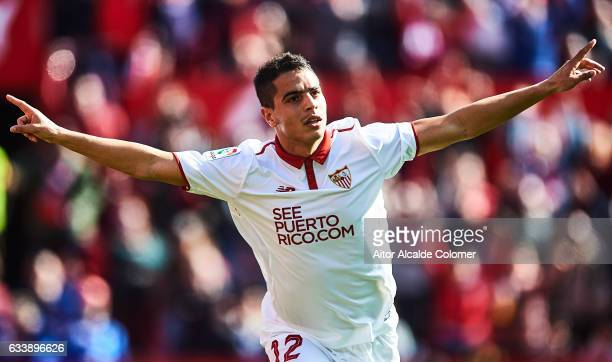 Wissam Ben Yedder of Sevilla FC celebrates after scoring a goal wich was later disallowed for offside during the La Liga match between Sevilla FC and...