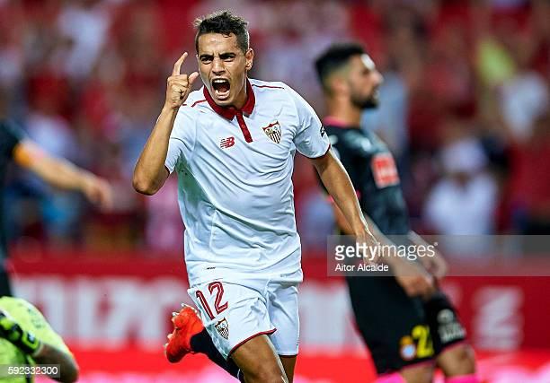 Wissam Ben Yedder of Sevilla FC celebrates after scoring during the match between Sevilla FC vs RCD Espanyol as part of La Liga at Estadio Ramon...