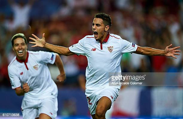 Wissam Ben Yedder of Sevilla FC celebrates after scoring during the UEFA Champions League match between Sevilla FC and Olympique Lyonnais at Sanchez...