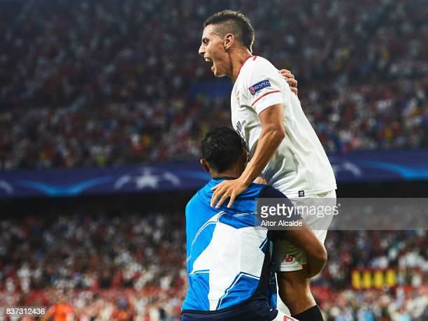 Wissam Ben Yedder of Sevilla FC celebrates after scoring during the UEFA Champions League Qualifying PlayOffs round second leg match between Sevilla...