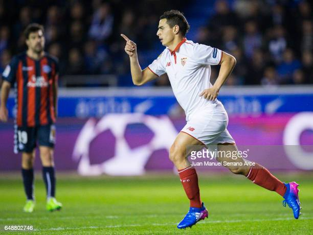 Wissam Ben Yedder of Sevilla FC celebrates after scoring goal during the La Liga match between Deportivo Alaves and Sevilla FC at Mendizorroza...