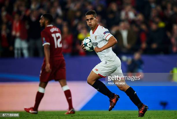 Wissam Ben Yedder of Sevilla FC celebrates after scoring goal during the UEFA Champions League group E match between Sevilla FC and Liverpool FC at...