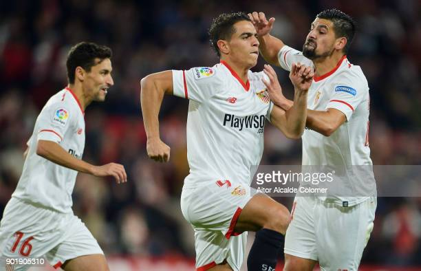 Wissam Ben Yedder of Sevilla FC celebrates after scoring goal during the La Liga match between Sevilla FC and Real Betis Balompie at Estadio Ramon...