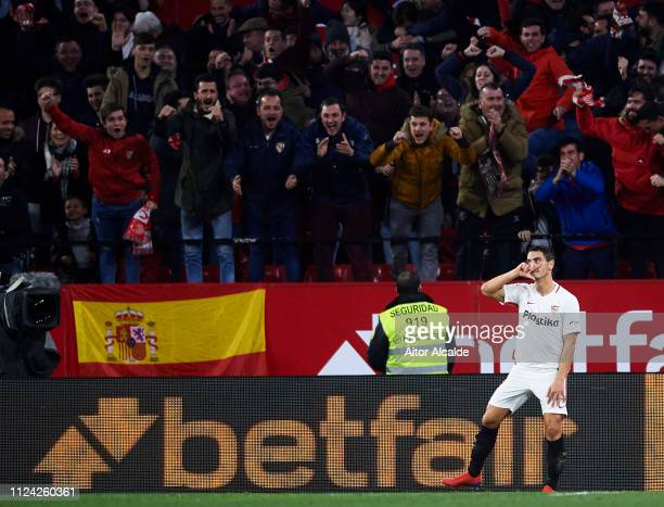 Wissam Ben Yedder of Sevilla FC celebrates after scoring his team's second goal during the Copa del Quarter Final match between Sevilla FC and FC...