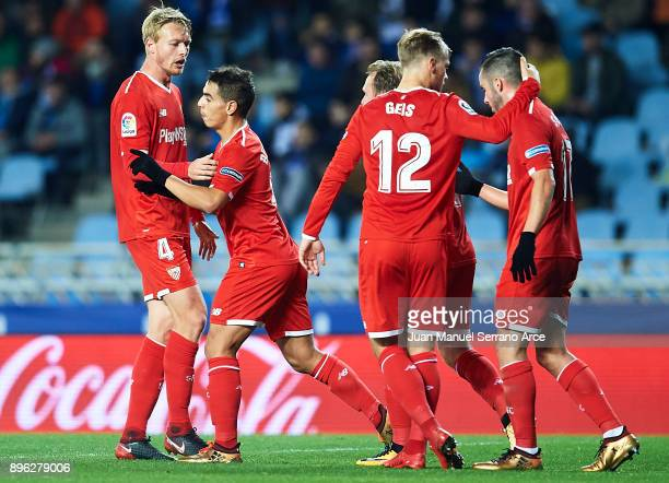 Wissam Ben Yedder of Sevilla FC celebrates after scoring the first goal for Sevilla FC during the La Liga match between Real Sociedad and Sevilla at...