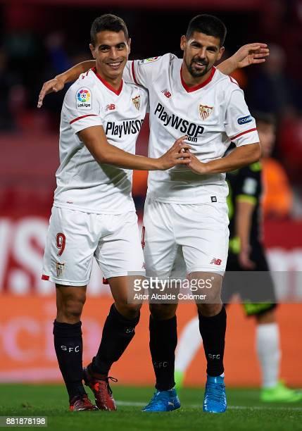 Wissam Ben Yedder of Sevilla FC celebrates after scoring the second goal for Sevilla FC with Manuel Agudo 'Nolito' of Sevilla FC during la Copa del...