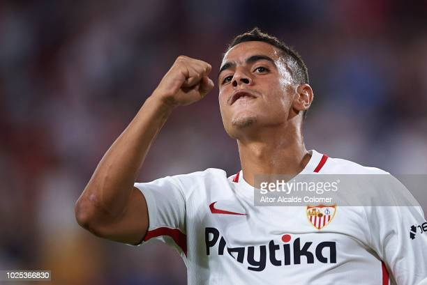Wissam Ben Yedder of Sevilla FC celebrates after scoring the third goal of his team during the UEFA Europa League Play Off Second Leg match between...