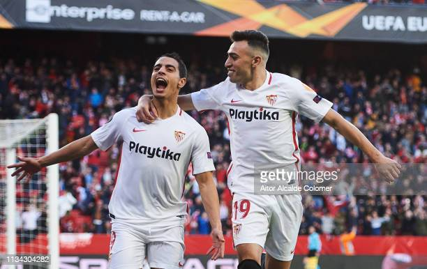 Wissam Ben Yedder of Sevilla FC celebrates with his teammate Munir El Haddadi of Sevilla FC after scoring the opening goal during the UEFA Europa...