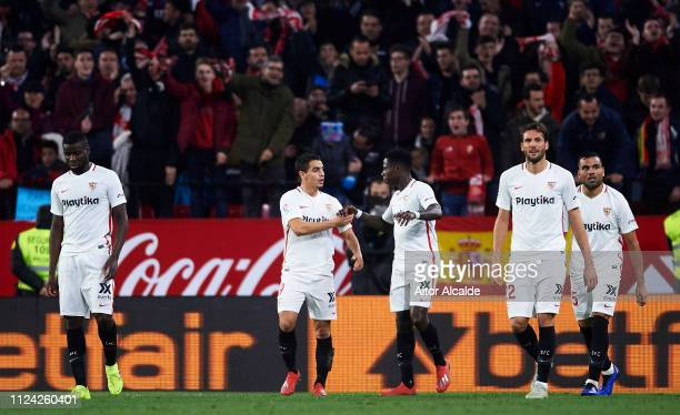 Wissam Ben Yedder of Sevilla FC celebrates with his teammates Quincy Promes of Sevilla FC after scoring his team's second goal during the Copa del...