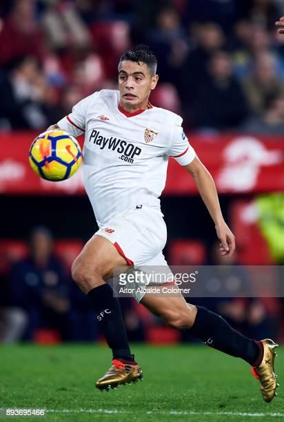 Wissam Ben Yedder of Sevilla FC controls the ball during the La Liga match between Sevilla FC and Levante UD at Estadio Ramon Sanchez Pizjuan on...