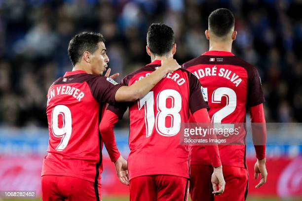 Wissam Ben Yedder of Sevilla FC Escudero of Sevilla FC Andre Silva of Sevilla FC during the La Liga Santander match between Deportivo Alaves v...