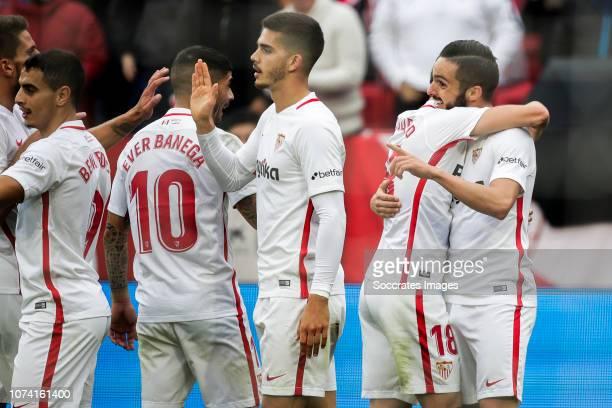 Wissam Ben Yedder of Sevilla FC Ever Banega of Sevilla FC Andre Silva of Sevilla FC Escudero of Sevilla FC Pablo Sarabia of Sevilla FC during the La...