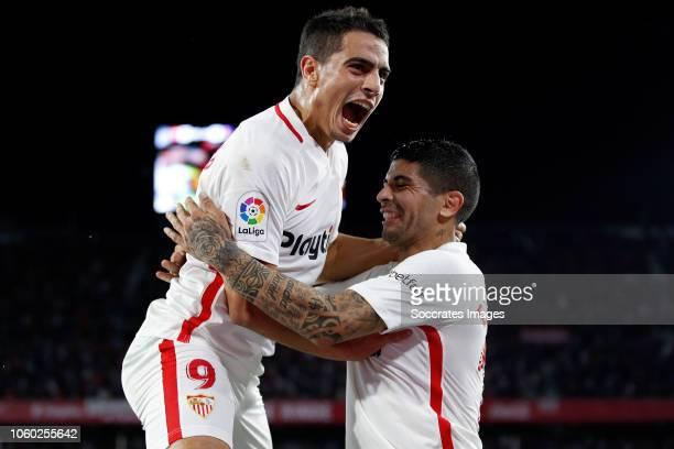 Wissam Ben Yedder of Sevilla FC Ever Banega of Sevilla FC celebrate goal during the La Liga Santander match between Sevilla v Espanyol at the Estadio...
