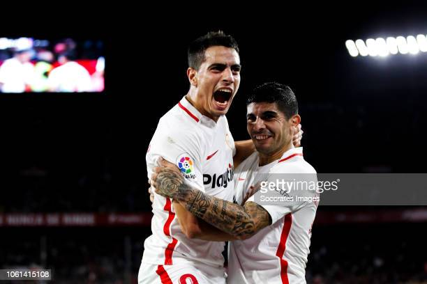 Wissam Ben Yedder of Sevilla FC Ever Banega of Sevilla FC during the La Liga Santander match between Sevilla v Espanyol at the Estadio Ramon Sanchez...