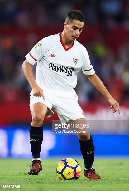 Wissam Ben Yedder of Sevilla FC in action during the La Liga match between Sevilla and Leganes at Estadio Sanchez Pizjuan on October 28 2017 in...