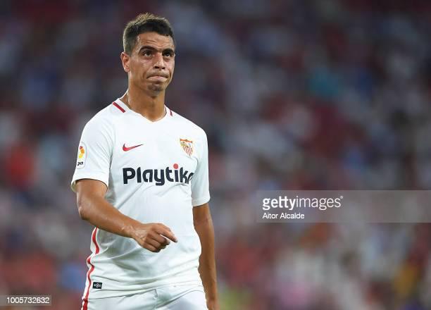 Wissam Ben Yedder of Sevilla FC looks on during Sevilla v Ujpest UEFA Europa League Second Qualifying Round 1st leg match at Estadio Ramon Sanchez...