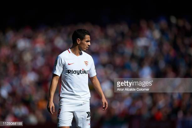 Wissam Ben Yedder of Sevilla FC looks on during the La Liga match between Sevilla FC and Levante UD at Estadio Ramon Sanchez Pizjuan on January 26...