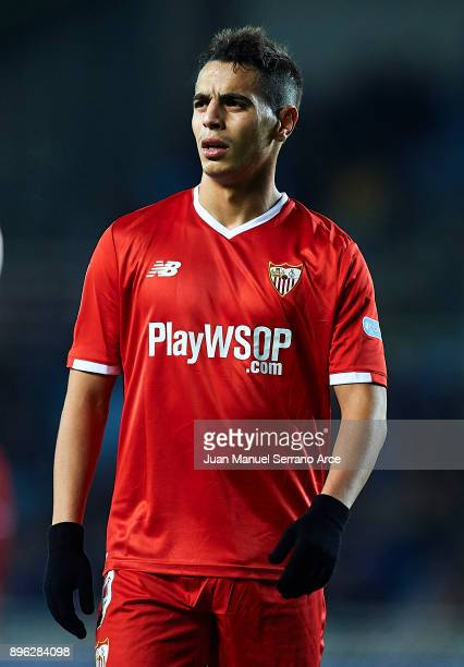 Wissam Ben Yedder of Sevilla FC looks on during the La Liga match between Real Sociedad and Sevilla at Estadio de Anoeta on December 20 2017 in San...