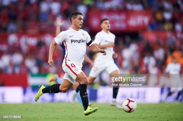 Wissam Ben Yedder of Sevilla FCin action during the La Liga match between Sevilla FC and RC Celta de Vigo at Estadio Ramon Sanchez Pizjuan on October...