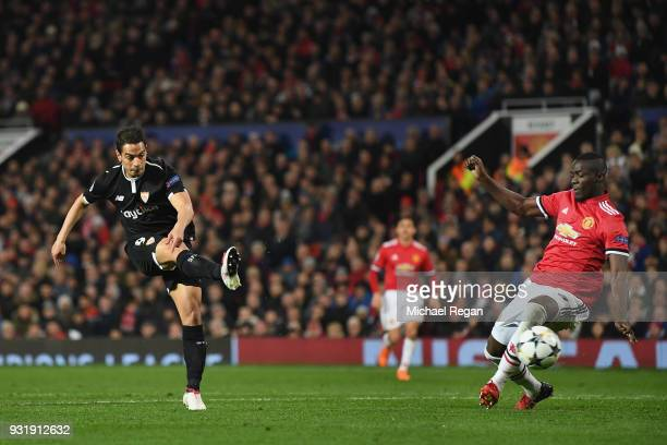 Wissam Ben Yedder of Sevilla scores their first goal during the UEFA Champions League Round of 16 Second Leg match between Manchester United and...